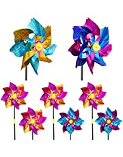 STOBOK Çim Fırıldak Gökkuşağı Fırıldak Pırıltılı Renkli Fırıldak Plastik Rüzgar Spinner Bahçe Parti Dekorasyon 8Pcs ( Rastgele Renk )