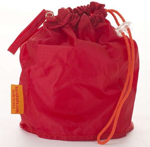 Red Small GoKnit Pouch Project Bag w/ Loop & Drawstring by KnowKnits