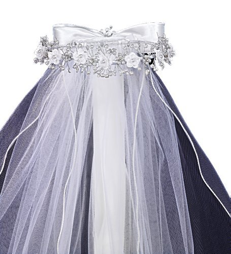 Veil with Satin Flower and Bead Accents