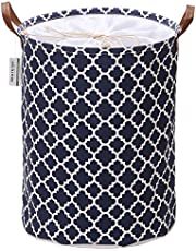 Sea Team Moroccan Lattice Pattern Laundry Hamper Canvas Fabric Laundry Basket Collapsible Storage Bin with PU Leather Handles and Drawstring Closure, 17.7 by 13.8 inches, Waterproof Inner, Dark Blue