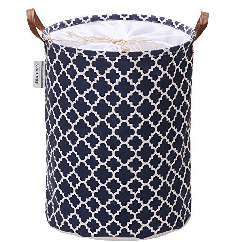 Sea Team Moroccan Lattice Pattern Laundry Hamper Canvas Fabric Laundry Basket Collapsible Storage Bin with PU Leather Handles and Drawstring Closure, 19.7 by 15.7 inches, Waterproof Inner, Dark Blue
