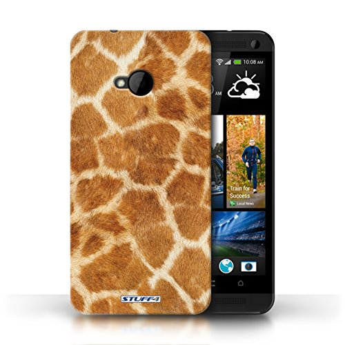 Etui / Coque pour HTC One/1 M7 / Orange conception / Collection de Girafe animale Peau/Motif