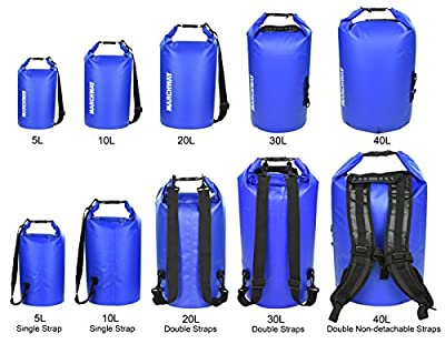 MARCHWAY Floating Waterproof Dry Bag 5L/10L/20L/30L/40L, Roll Top Sack Keeps Gear Dry for Kayaking, Rafting, Boating, Swimming, Camping, Hiking, Beach, Fishing