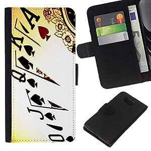 [Neutron-Star] Modelo colorido cuero de la carpeta del tirón del caso cubierta piel Holster Funda protecció Para Samsung ALPHA G850 [Cartes Poker Ace Roi]