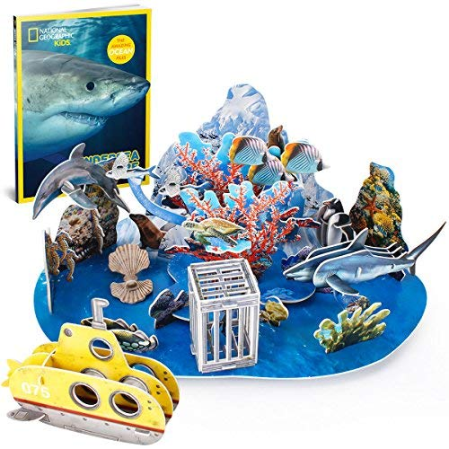 CubicFun-National Geographic Ocean Puzzle Educational Toys with Bookelts,Undersea Adventure DS0974h