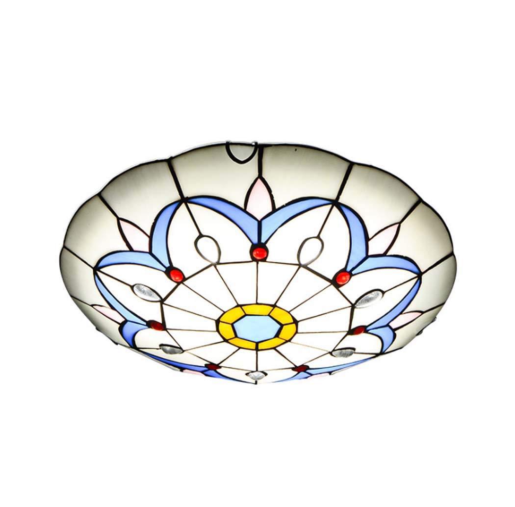 LEDシーリングライト、寝室、ティファニー風埋め込み式ステンドグラスシーリングライト田舎風のリビングルームの照明、LEDチップ,3colorlight,50cm 50cm 3colorlight B07T3T65T1