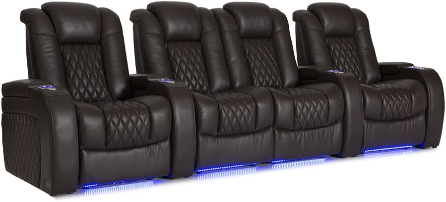 Seatcraft Diamante Home Theater Seating Leather Power Recline and Powered Headrest Row of 4 with Middle Loveseat, Brown