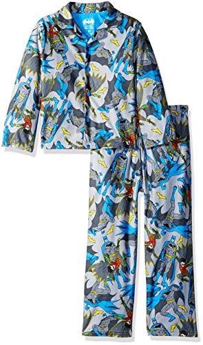 2 Piece Coat Pajamas - DC Comics Boys' Little Batman 2-Piece Pajama Coat Set, Gotham City Blues, 4