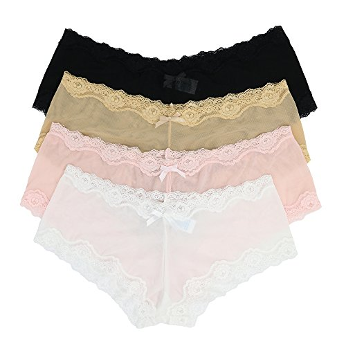 Curve Muse Sexy Sheer Lace Bikini Panties Pack Of 4 Assorted Colors Women Underwear-Black, White, Light Pink, Nude-M/6 (Muse Womens)
