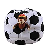 kingfansion Children's Storage Bag, Plush Animal Toy Football Storage Home Storage Soft Bag Striped Cloth Chair