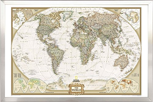 FRAMED National Geographic World Map Executive Style - with Push Pins - 24x36 in Real Wood Brushed Nickel Finish Crafted in USA