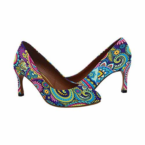 Dress Traditional Fashion Womens Paisley InterestPrint Heel Elements Asian Classic High Pump qdw6dE0Xx