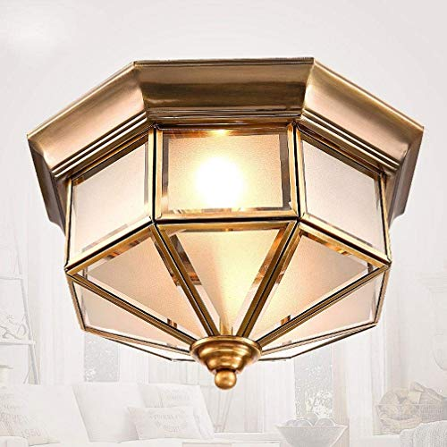 BOSSLV Industrial Ceiling Light 2-Lights Cone Yellow Ceiling Lamp Copper Glass Lampshade Classical Parlor Dining Hall Study Aisle Corridor Ceiling Lighting 32Cm E27 Max 60W