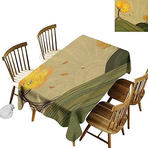 Sonoma Modern Bench - DONEECKL Forest Easy to Clean Tablecloth Will not Fade Artistic Abstract Trees in a Natural Park with a Bench Snow in Autumnal Woodland Multicolor W60 xL84