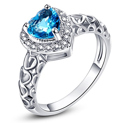 Narica Womens Brilliant 6mmx6mm Heart Shaped Blue Topaz Cubic Zirconia Engagement Ring