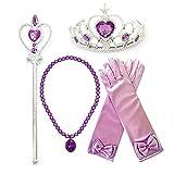 Kuzhi Princess Cinderella Elsa Dress up Party 4-Piece Accessories Gift Set(Dark Purple)