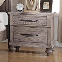Langley Nightstand in Weathered Wood Grain Grey