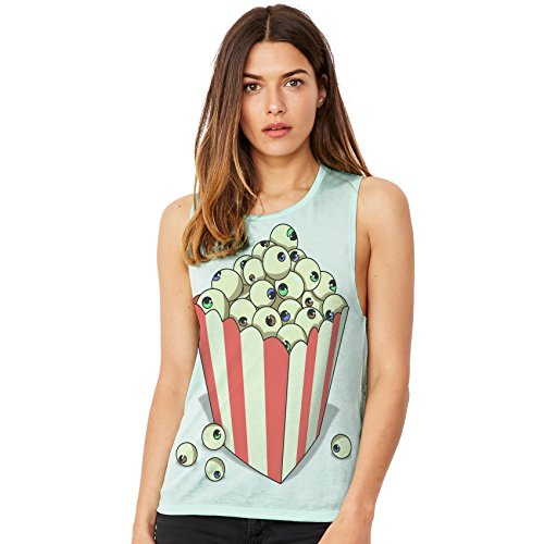 TWISTED ENVY Women's Halloween Eyeball Popcorn Comfortable and Soft Flowy Scoop Muscle Tank with Unique Design Large (Green Popcorn Halloween)
