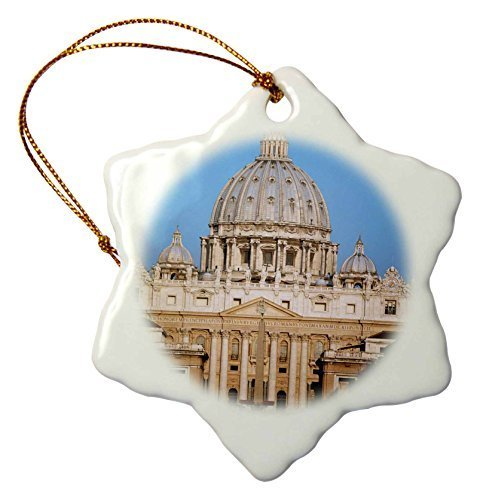 D/écorations pour arbre de No/ël Craft Italie Rome basilique du Vatican Flocon de neige de No/ël Ornement Cadeau de porcelaine