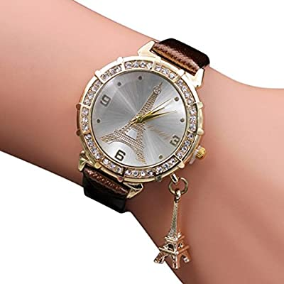 WM & MW Ladies Watches, Crystal Eiffel Tower Pendant PU Leather Band Quartz Wrist Watch for Women