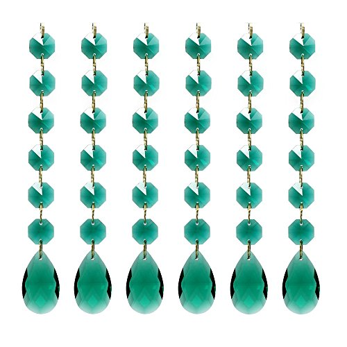 Poproo Teardrop Octagon Crystal Glass Beads Pendant for Chandelier Lamp Curtain Decor, 6-Pack (Peacock Green)