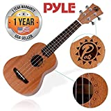 Solid Wood Mahogany Soprano Ukulele Professional Instrument with Solid Dark Brown Body and Neck, Black Walnut Fingerboard and Bridge - Pyle Pro PUKT45