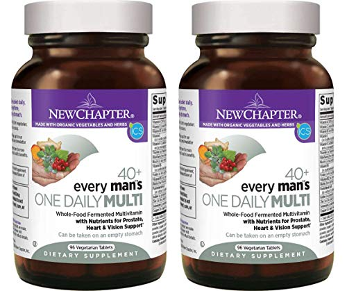 New Chapter 40+ Every Man's One Daily Multi Whole-Food, Fermented, Multivitamin from Organic Vegetables, Herbs with Nutrients for Prostate, Heart and Vision Support (96 Vegetarian Tablets) Pack of 2