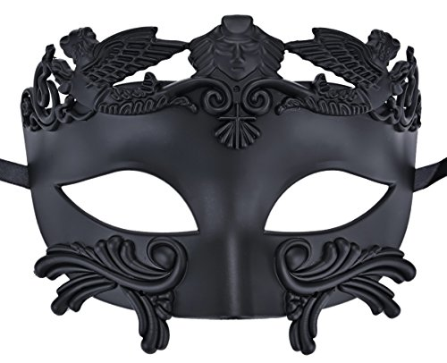 Coxeer Mens Masquerade Mask Greek Party Mask Black Mardi Gras Halloween (Black Masquerade Mask For Men)