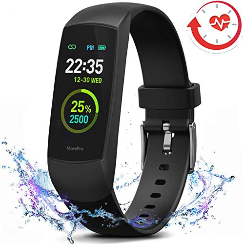 A5 Heart Rate Monitor Watch - MorePro HRV Fitness Tracker with Heart Rate Blood Oxygen Saturation Monitor SpO2, Waterproof Color Screen Activity Health Trackers with Sleep Tracking Calorie Step for Women and Men (Black)