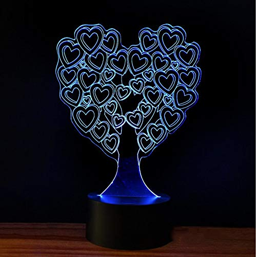 Knncch 3D Usb Nachtlicht Tischlampe Schlafzimmer Dekor Führte Visuelle Liebe Herzform Baum Licht Nachttischlampe Leuchte Luminaria Geschenke
