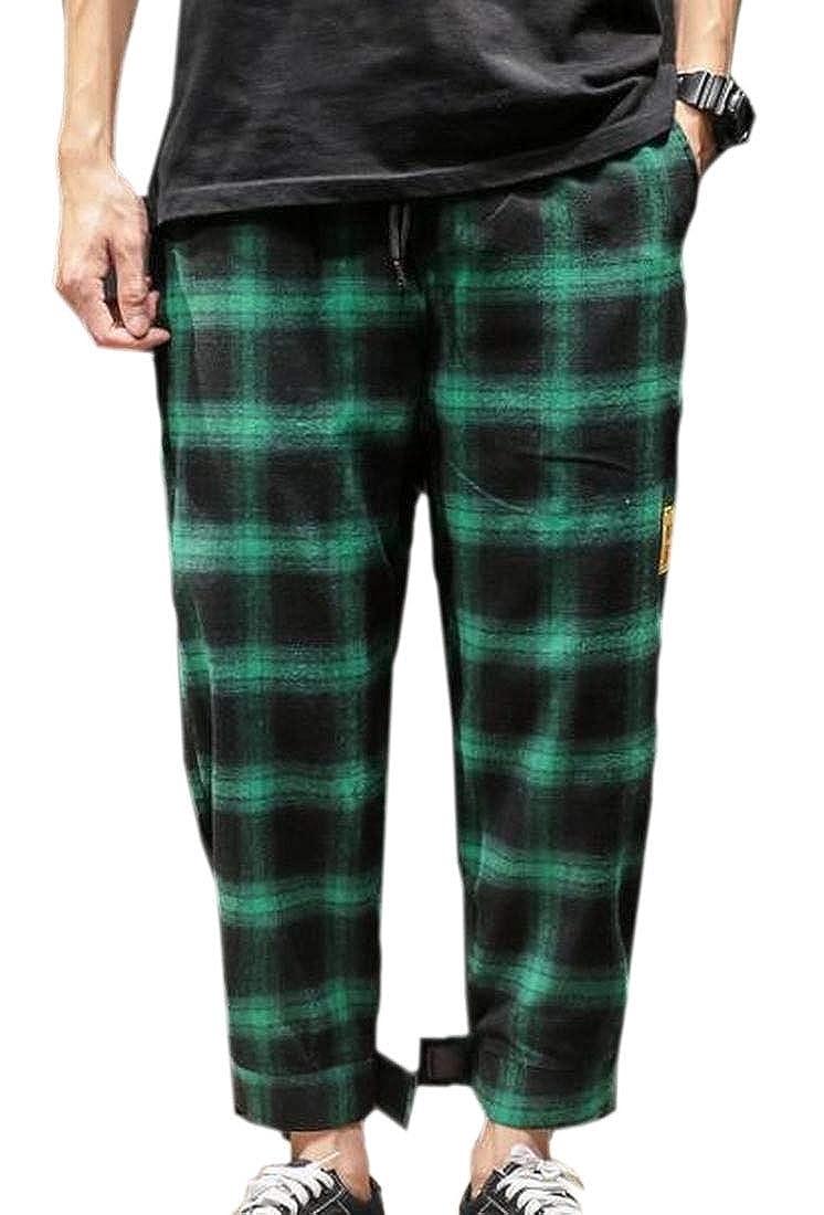 Hokny TD Mens Hip Hop Plaid Jogger Pants Loose Fit Cotton Harem Pants