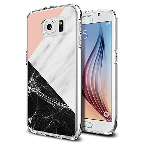 - S6 Case Pink marble patchwork design, LAACO Scratch Resistant TPU Gel Rubber Soft Skin Silicone Protective Case Cover for Samsung Galaxy S6