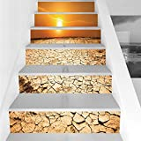 Stair Stickers Wall Stickers,6 PCS Self-adhesive,Desert,Drought Land and Hot Weather Climate Theme Sun Arid Country Landscape,Sand Brown Orange Yellow,Stair Riser Decal for Living Room, Hall, Kids Roo