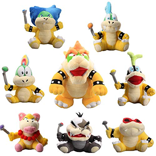 uiuoutoy Super Mario 10'' King Bowser & Koopalings Larry Iggy Lemmy Roy Ludwig Wendy Morton Koopa Plush Set of 8 pcs (Mario And Luigi Superstar Saga All Bosses)