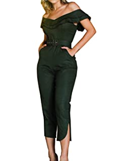 e42317a44f2 Women s Elegant Split Jumpsuit Ruffle Off Shoulder Pants Long Rompers with  Belt and Pocket
