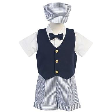 4bf1499df Amazon.com  Lito Boys Blue White Vest Shorts Easter Ring Bearer Suit ...