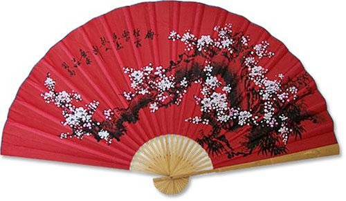 1 X Large Japanese Wall fan - Pink Floral Japanese Decor