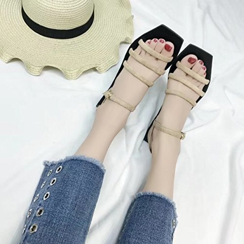 RUGAI-UE Una hebilla sandalias Verano Mujer simple estudiante de fondo plano de los zapatos Zapatos de mujer en la playa Khaki