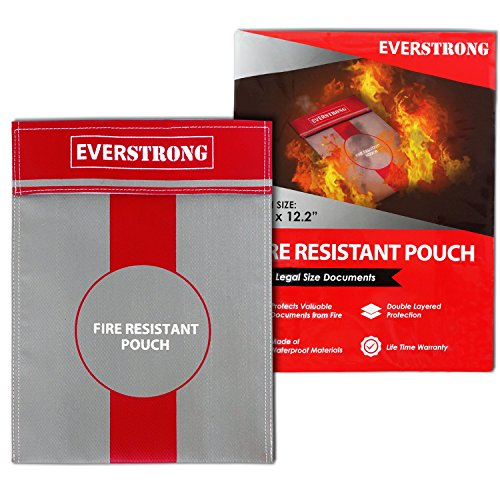 Fire Resistant Document Bag- Heavy Duty Fiberglass Lining- Fireproof Storage Pouch for Cash Money/ Bank File /Passport/ Photo Album/ Important Legal Documents- Safe Retardant Envelope Heat Protection