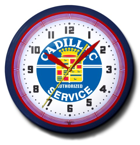 Cadillac Authorized Service Center Emblem Neon Wall Clock 20