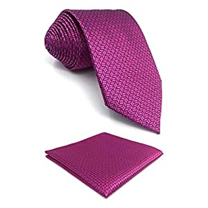 S&W SHLAX&WING Fushia Neckties for Men Silk Tie with Pocket Square Purple