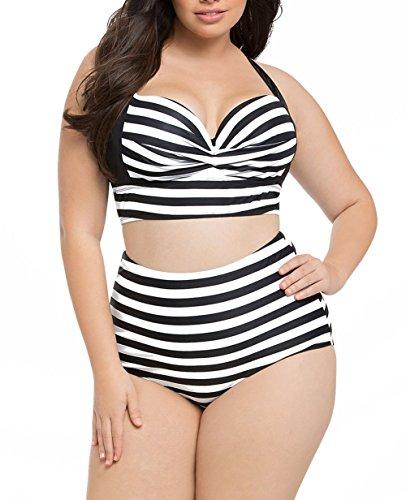 LittleLittleSky Womens Sexy Two Piece Printed Curvy High Waist Plus Size Bikini Swimsuit Swimwear (XXL, Striped (Plus Size Bikinis)