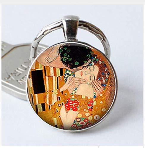 Gustav Klimt The Kiss Keychain Retro Art Jewelry Valentine Gift Cabochon Glass Romantic Lovers Gift Key Chain -