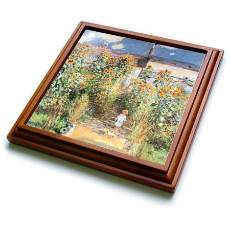 3dRose trv_126588_1 The Artists Garden at Vetheuil by Claude Monet, 1880 Trivet with Ceramic Tile, 8 by 8'', Brown by 3dRose