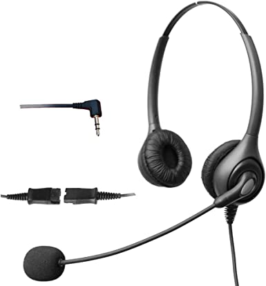 4Call H602NQJ25 2,5 con cancelación de ruido auriculares con micrófono para Polycom Cisco Linksys SPA Grandstream Panasonic Gigaset y oficina Zultys IP teléfono inalámbrico Dect airplanes con 2,5 mm para auriculares Jack: