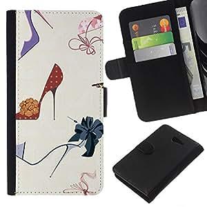 All Phone Most Case / Oferta Especial Cáscara Funda de cuero Monedero Cubierta de proteccion Caso / Wallet Case for Sony Xperia M2 // Fashion Stiletto Woman Pastel