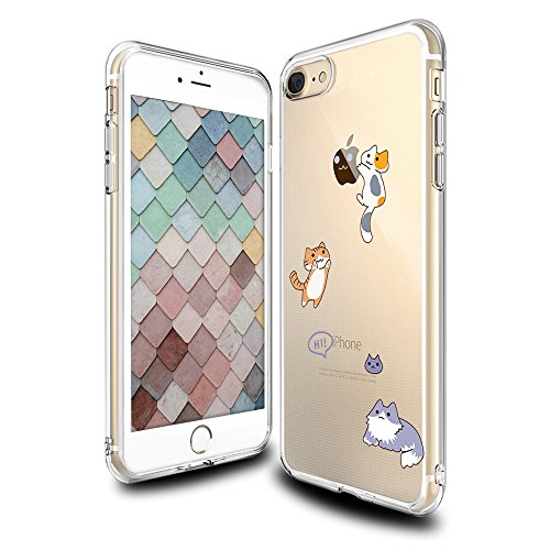 Cute iPhone 7 Case, Clear with Design Funny Cat Kitty Pattern Print Protective Case for Apple iPhone 7 4.7 Inch, Gel Flexible Rubber TPU Shock Absorption Case for Teens