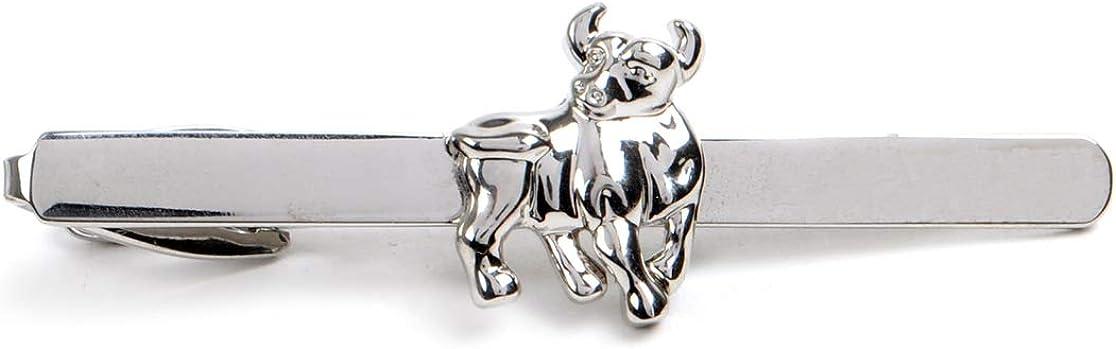 Silver Tone Bull Tie Bar Clip
