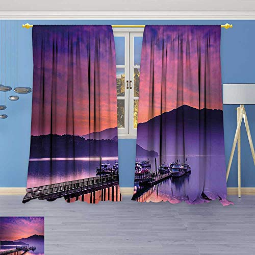 Kids Room Planets Curtains (2 Panels),Seashore in Nantou Taiwan Majestic Cloudy Sky Scenery Lake Boats Mountain Pink Purple Thermal Insulated Blackout Curtains with Star (Majestic 2 Light Sconce)