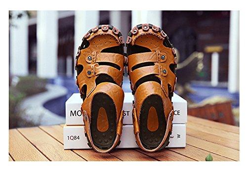 Sandalen CN 9 EU US 1 Hand braun 3 zu 43 Gebrauch UK Echtleder 5 bauen Dualer Strand 45 Sandalen Schuh Umweltschutz 9 M盲nner xv1aAxq